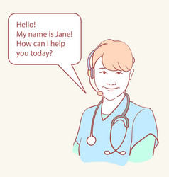 online medical assistant doctor support hand drawn vector image