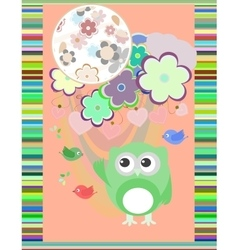 owl in love and bird with flowers textile vector image