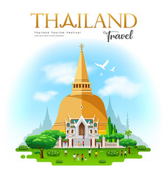 phra pathommachedi is a stupa in thailand vector image