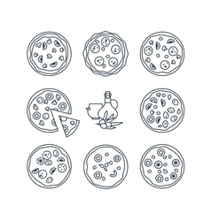 Pizza line icons vector