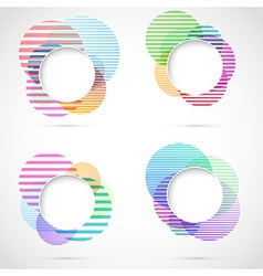 Retro striped circular design elements vector