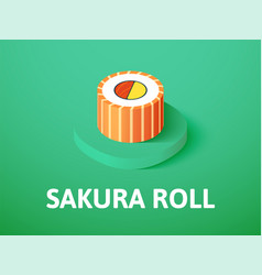 Sakura roll isometric icon isolated on color vector