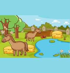 Scene with horses in farm animals vector