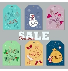 set christmas and new year discount tags vector image
