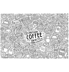 set coffee theme items objects vector image
