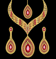 Set necklace and earrings wedding female vector