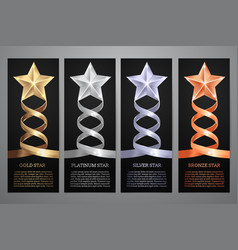 set of black banners gold platinumsilver and vector image