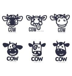 Set of funny cow head logo templates vector image