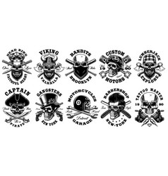 set vintage different skulls on white vector image