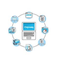 Set webside code programmer technology vector