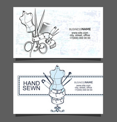 sewing and cutting business cards vector image