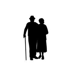 Silhouettes grandparents stand together vector