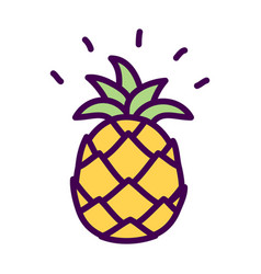 simple pineapple cute doodle drawing vector image