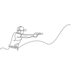 single continuous line drawing young athlete vector image