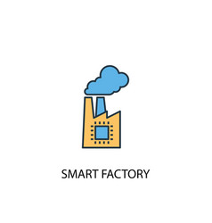 smart factory concept 2 colored line icon simple vector image