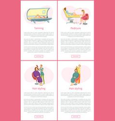 Tanning tan in solarium pedicurist posters vector