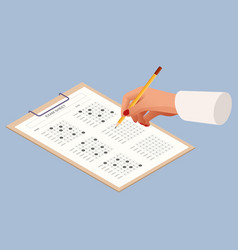 the student filling out answers to exam test vector image