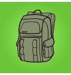 Tourist backpack green pop art style vector