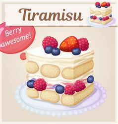 Triple berry tiramisu dessert icon vector