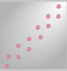 very cute pink cats footsteps vector image