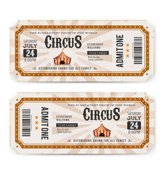 Vintage circus ticket back and front vector