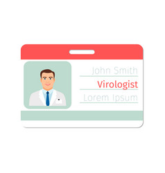 Virologist medical specialist badge template vector