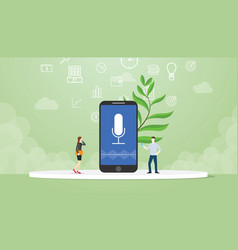 Voice command technology with people concept with vector