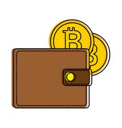 Wallet with bitcoin isolated icon vector