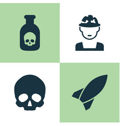 Warfare icons set collection of danger military vector