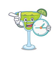 with clock margarita character cartoon style vector image