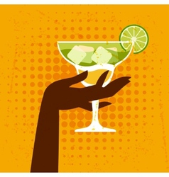 with glass of margarita and hand vector image