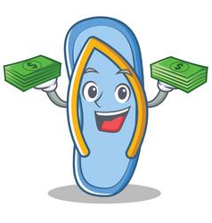 With money flip flops character cartoon vector