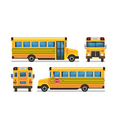 Yellow school bus front side rear view pupils vector