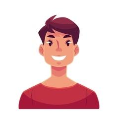 Young man face smiling facial expression vector