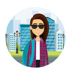 Young woman with sunglasses in street urban vector