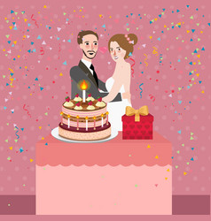 couple celebrating wedding anniversary party vector image