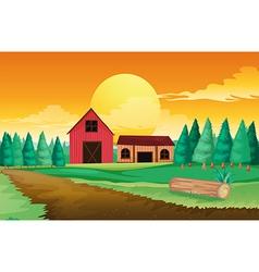 Farm houses near the pine trees vector image vector image