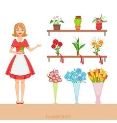 Female florist in the flower shop demonstrating vector