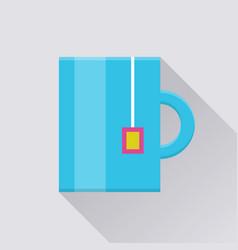 mug with tea bag pocket icon vector image