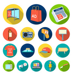 production of advertising flat icons in set vector image vector image