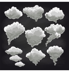 Rain clouds collection on chalkboard vector image