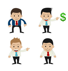 set of funny cartoon office businessman vector image