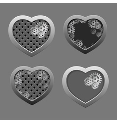 Set of Metal hearts with silver gears vector image