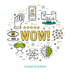 Unreal emotions - line art concept vector