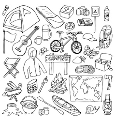 Hand drawn camping set vector