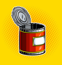 Open tincan pop art vector