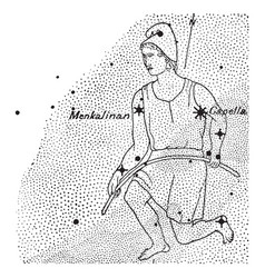 Auriga constellation vintage vector
