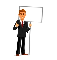 Businessman with an empty sign board and thumb up vector image vector image