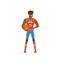 cheerful basketball player standing with ball in vector image
