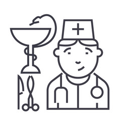 doctor sign line icon sign vector image vector image